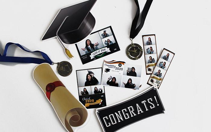 Graduation photo booth flat lay